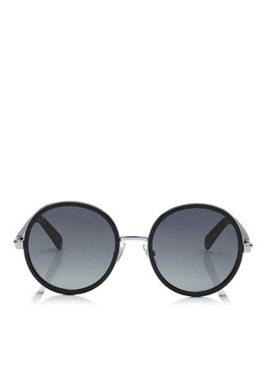 a817b75247cf ANDIE Black Acetate Round Framed Sunglasses with Silver Lurex Detailing. Jimmy  Choo