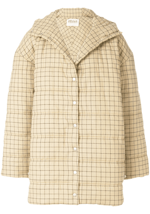 A.W.A.K.E. oversized checked coat - Neutrals