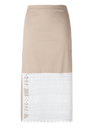 No21 lace panel skirt - Nude & Neutrals