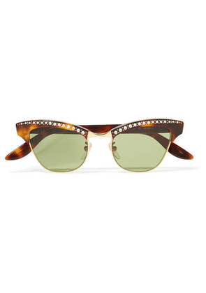 Gucci - Pixie Crystal-embellished Gold-tone And Acetate Cat-eye Sunglasses - Tortoiseshell