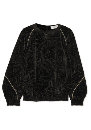 Chloé - Smocked Printed Velvet Sweatshirt - Black