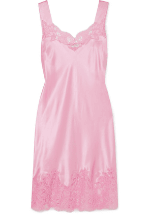 Givenchy - Lace-trimmed Silk-satin Mini Dress - Pink