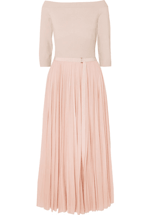 Alexander McQueen - Off-the-shoulder Ribbed Jersey And Plissé-chiffon Midi Dress - Blush