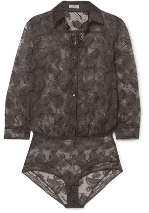Eres - Farniente Lace And Printed Satin Bodysuit - Anthracite