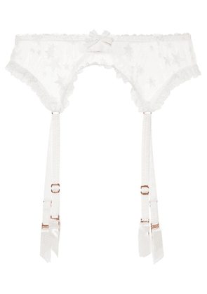 Agent Provocateur - Luxx Lace-trimmed Embroidered Tulle Suspender Belt - White