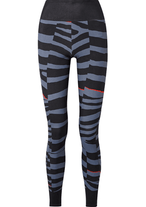 adidas by Stella McCartney - Train Miracle Zebra-print Climalite Stretch Leggings - Storm blue