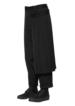 GABARDINE WOOL PANTS W/ DETACHABLE SKIRT