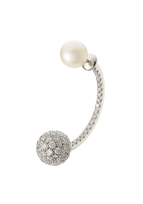 Delfina Delettrez 19kt White Gold Sphere Earring with Diamonds and Pearl