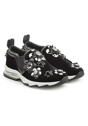 Fendi Suede Sneakers with Embellished Flower Appliques