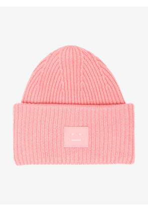 Acne Studios pink Pansy Face ribbed wool beanie 9b811a285218