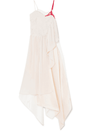 Preen by Thornton Bregazzi - Adelia Lace, Plissé-crepe And Silk-satin Midi Dress - Neutral
