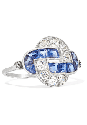 Fred Leighton - Art Deco 1915 Platinum, Sapphire And Diamond Ring - Blue