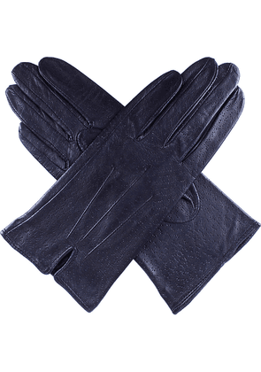 Dents Peccary-effect leather gloves, Women's, Size: 7, Navy