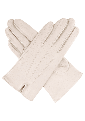 Dents Peccary-effect leather gloves, Women's, Size: 7, Parchment