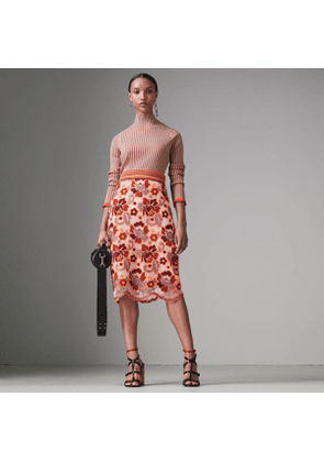 Burberry Floral Crochet Fitted Skirt, Size: 02