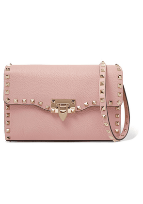Valentino - Valentino Garavani The Rockstud Textured-leather Shoulder Bag - Antique rose