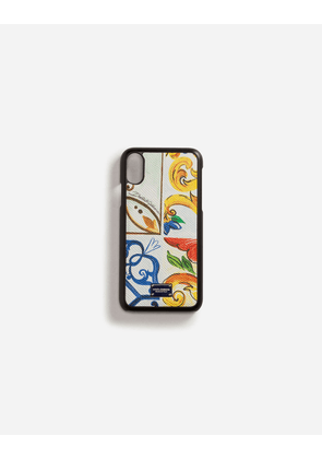 Dolce & Gabbana Hi-Tech Accessories - IPHONE X COVER WITH PRINTED DAUPHINE CALFSKIN DETAIL MAJOLICA PRINT