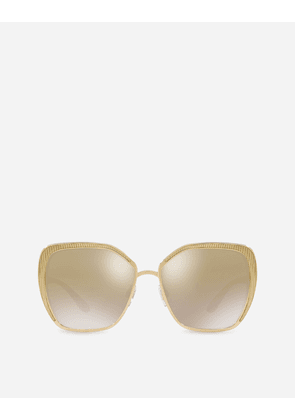 fd0765e1932 Dolce   Gabbana Sunglasses - BUTTERFLY SHAPED SUNGLASSES WITH GROS GRAIN DETAIL  GOLD