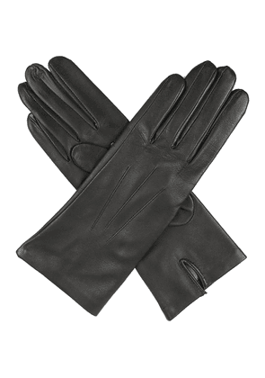 Dents Classic silk-lined leather gloves, Women's, Size: 7.5, 12:00:00, Charcoal