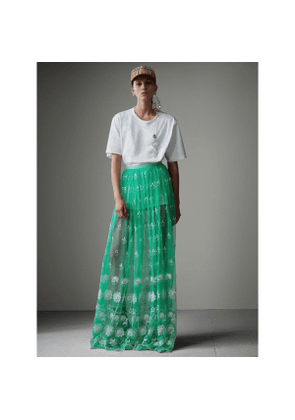 Burberry Floor-length Embroidered Tulle Skirt, Size: 08, Green