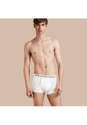 Burberry Stretch Cotton Boxer Shorts, Size: L, White