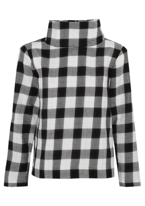 Tibi - Metallic Gingham Cotton-blend Flannel Top - Black