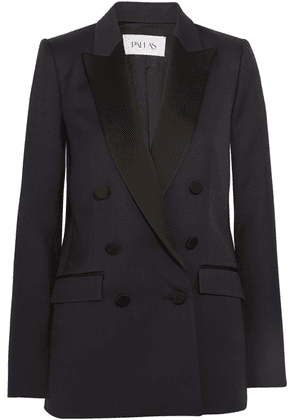 Pallas - Double-breasted Satin-trimmed Wool Blazer - Navy