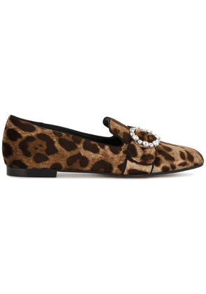 Dolce & Gabbana leopard print loafers - Brown
