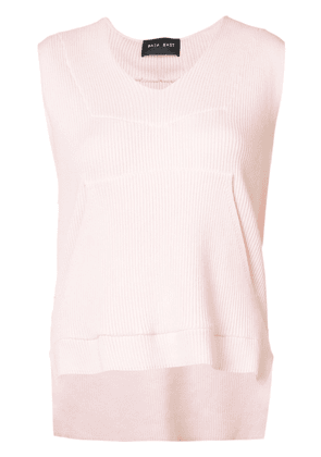 Baja East sleeveless V-neck hoodie - Pink & Purple