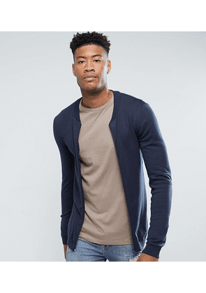 ASOS TALL Knitted Muscle Fit Bomber Jacket In Navy - Navy