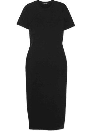 Cushnie et Ochs - Mesh-paneled Stretch-jersey Midi Dress - Black