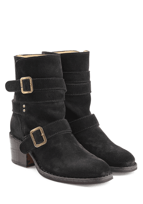 Fiorentini + Baker Buckled Suede Mid Height Boots