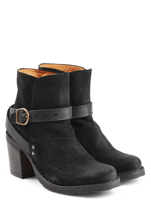 Fiorentini + Baker Suede and Leather Buckle Strap Ankle Boots