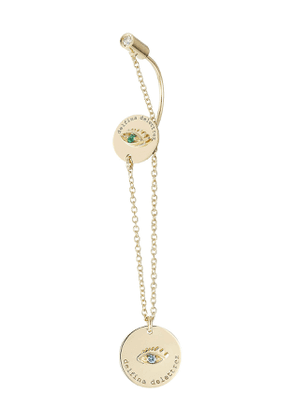 Delfina Delettrez 18kt Gold Earring with Emerald and Sapphire