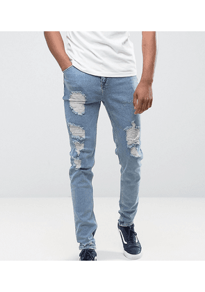 ASOS TALL Tapered Jeans In Vintage Light Wash Blue With Heavy Rips - Light wash vintage