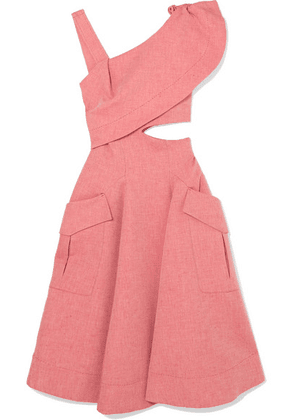 Carven - Asymmetric Cutout Cotton-blend Chambray Midi Dress - Pink