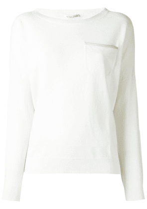 Agnona cashmere chest pocket pullover - White