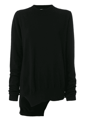 Jil Sander asymmetric knitted jumper - Black