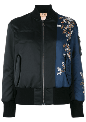 No21 flower embroidery bomber jacket - Black