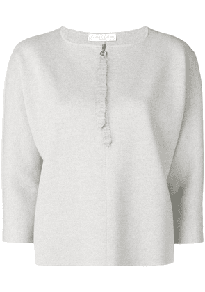 Fabiana Filippi zip detail 3/4 sleeve sweater - Grey