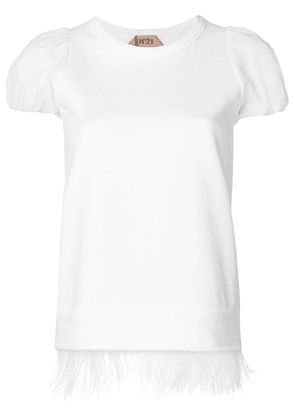 No21 ostrich feather puff sleeve T-shirt - White