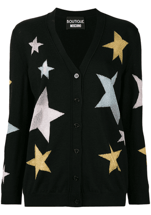 Boutique Moschino intarsia star knit cardigan - Black