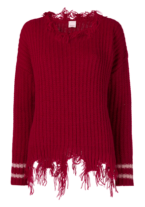 Pinko distressed knitted sweater - Red