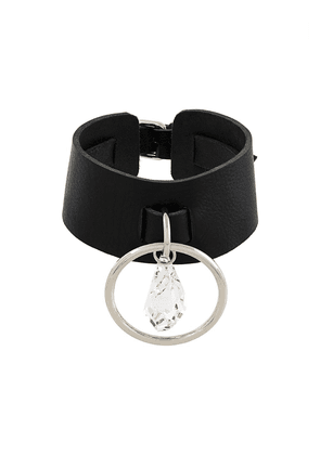 Leather Choker With O-ring Swarowski Pendant