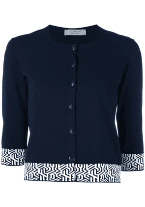 D.Exterior embroidered cropped cardigan - Blue