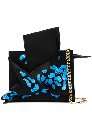 No21 sequinned abstract bow mini bag - Black