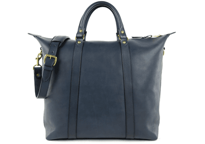Frank Clegg Navy Hampton Zipper Leather Tote