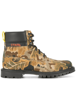 Heron Preston camouflage print boots - Green