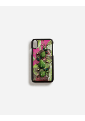 Dolce & Gabbana Hi-Tech Accessories - IPHONE X COVER WITH PRINTED DAUPHINE CALFSKIN DETAIL AND EMBROIDERIES FUCHSIA