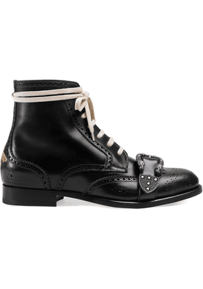 Gucci Black Queercore leather brogue boot
